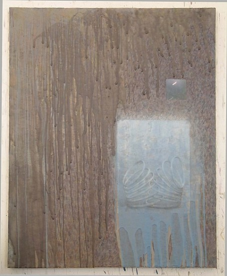 John King, Revival 2004, encaustic, graphite on paper, photo on panel