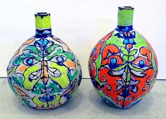 Elisabeth Kley, Two Small Leaf Face Bottles 2008, glazed earthenware