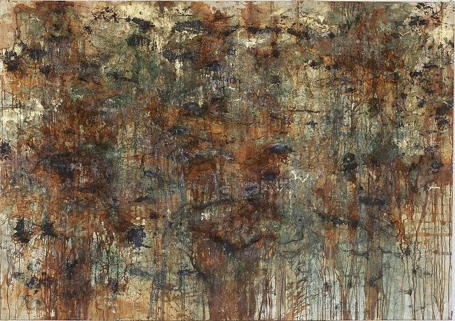 Tamas Kopasz, Fragments from the Golden Age No. 1 1985, bronze dust, bronze, acid on canvas