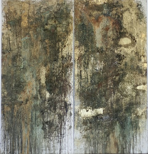 Tamas Kopasz, Fragments from the Golden Age No. 3-4 1985, bronze dust, bronze, acid on canvas