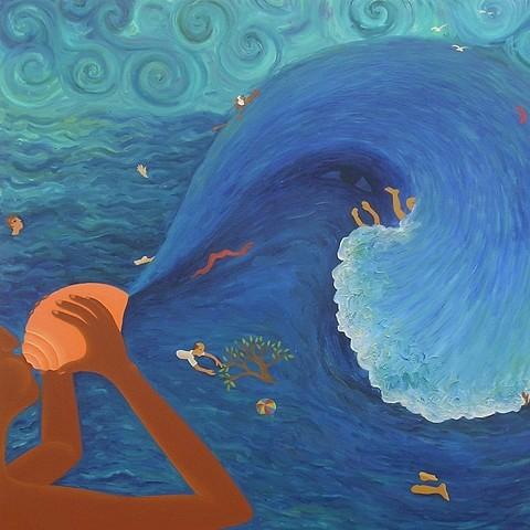 Kirti Chandak, Pralaya 2005, oil on canvas
