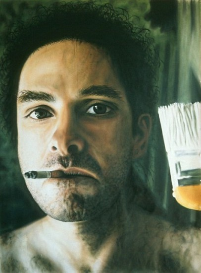 Laurent La Gamba, Self-Portrait with Brush and Cigarette 2000, acrylic on canvas