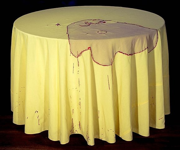 Nava Lubelski, Clumsy 2007, hand-stitching on wine-stained tablecloth