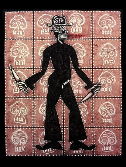 Carlos Luna, Papito Guaperia 2005, gouache and carbon on amate paper