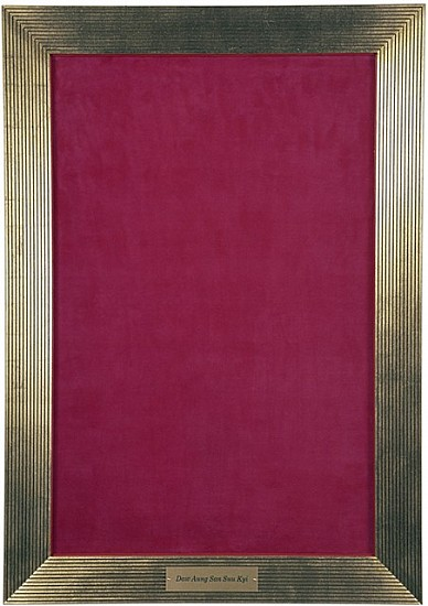 Milovan Markovic, Portrait of Aung San Suu Kyi 1996, lipstick on silk velvet, frame with gold leaf and angraved brass