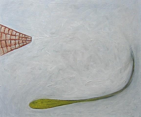 Bonnie Melton, Fenced 2008, oil on wood
