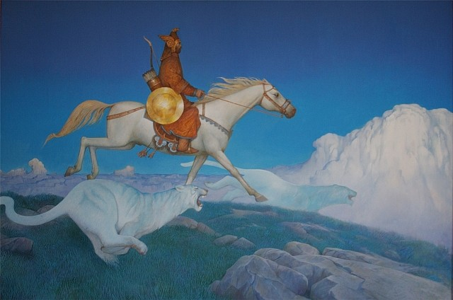 Azat Minnekaev, The Heavenly Tigers of Kuk Tengri 2006, acrylic on canvas