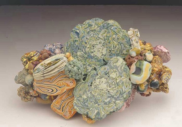 Laura Moriarty, Piled Aggregate 2003, compressed encaustic clusters, sliced and burnished