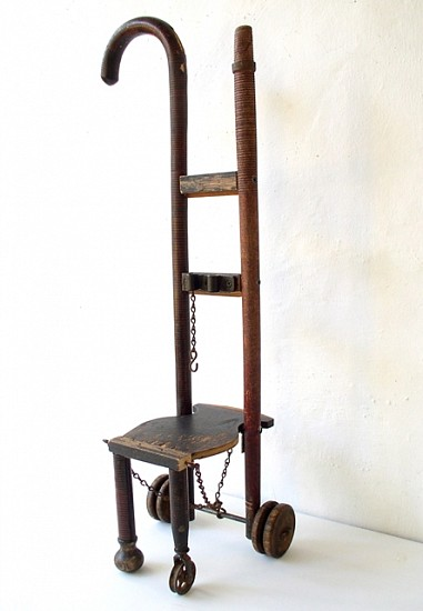 Janet Orselli, Wheel Chair 2006, cane, fishing rod, wheels, chain, wood, metal