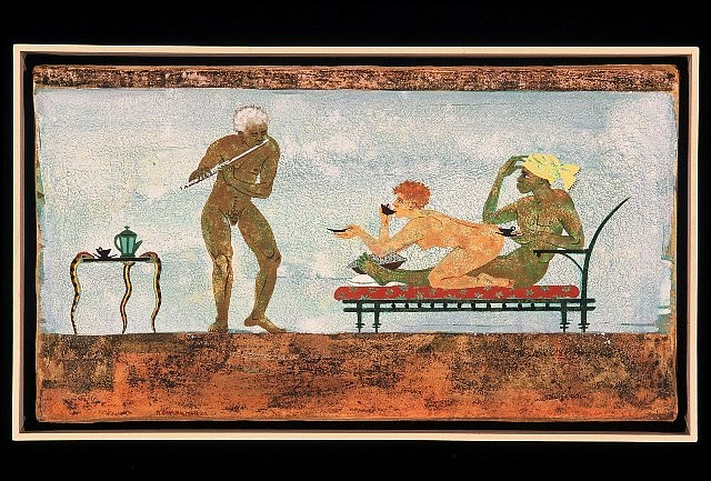 Phyllis Palmer, Afternoon Tea 2003, fresco and secco on plaster