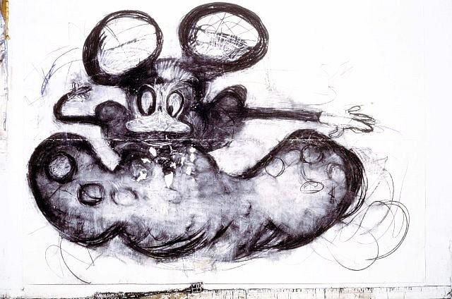 Joyce Pensato, Donald as a Crossdresser 1999, charcoal, pastel on paper