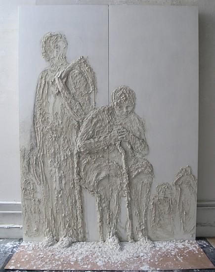 Gilda Pervin, Here We Are 2004, Portland cement, sand, gesso, charcoal on wood
