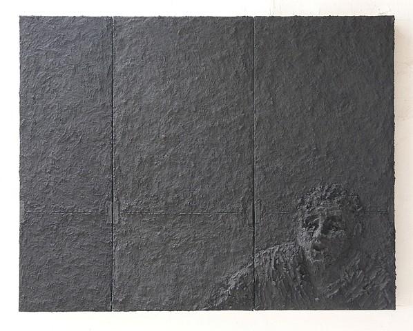 Gilda Pervin, Caught 2005, Portland cement, sand, acrylic paint, metal brackets on wood