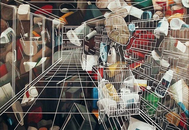 Alejandro Pintado, Fruit, Shampoo, Cereals, etc/Trash 2005, oil on canvas and plexiglass with vinyl