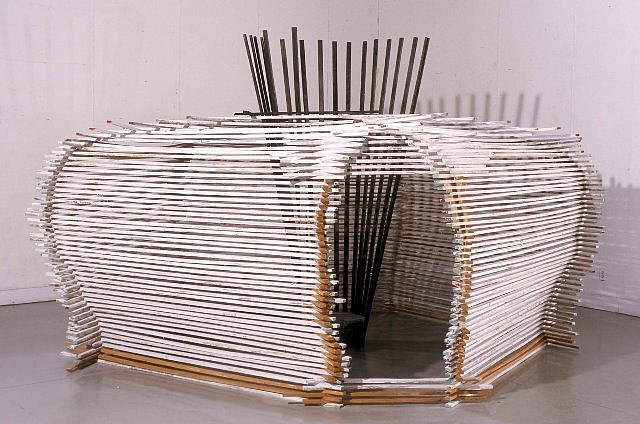 Craig Pleasants, Pentagon. 2 2002, wood slats, clay, whitewash