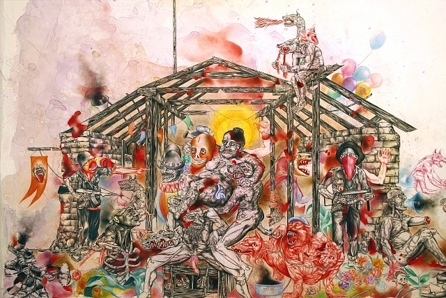 Osvaldo Ramirez Castillo, Carnivalissimo (Detail) 2010, mixed media drawing