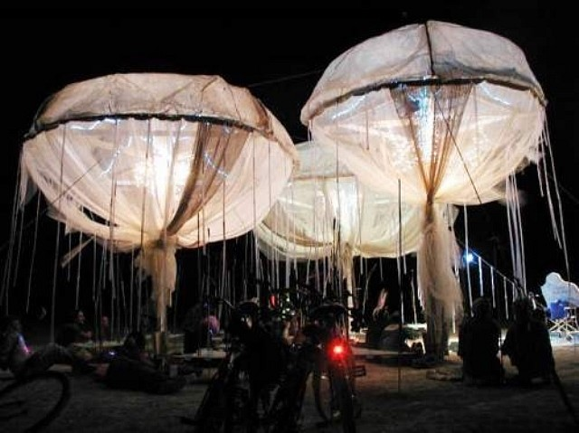Susan Robb, You Are My Zooplankton - Come Closer 2002, muslin, resin, solar panels, textiles, performance, five course sushi dinner