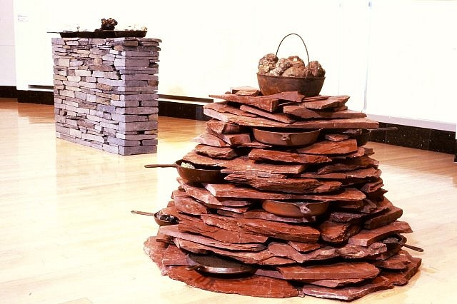 Celeste Roberge, Stacks for Home and Office, Volcano 1999, slate, cast iron pans, minerals
