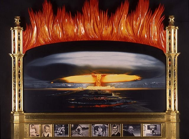 Ron Rozzelle, Me and the Apocolypse 2005, oil on canvas, wood, gold leaf, photographs