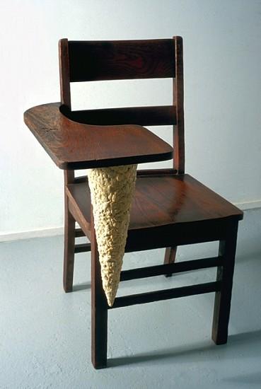 John Salvest, Stalactite 2001, wooden school desk, chewing gum