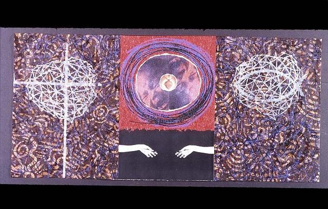 Juan Sanchez, Resurrection 2005, oil, mixed media on wood panel