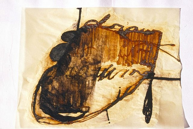 Mira Schor, Draw(wing) 2001, ink, gesso on yellow tracing paper