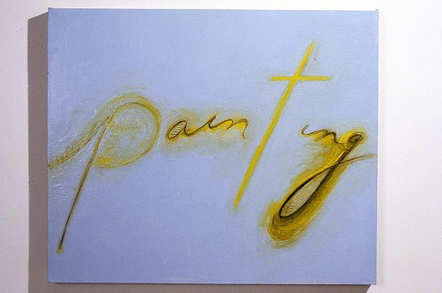 Mira Schor, Painting (yellow on blue) 2003, oil on linen