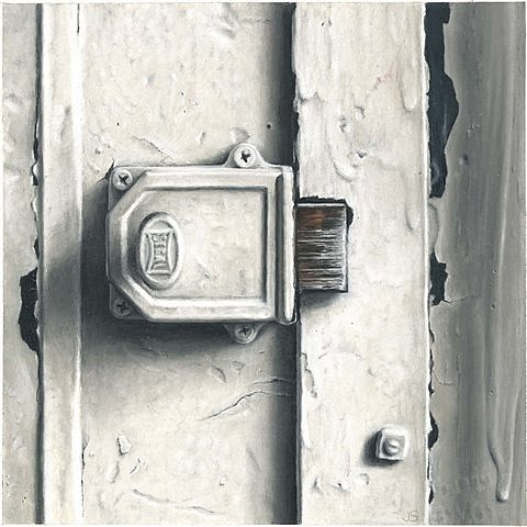 Jaye Schlesinger, Lock--White Door Series No. 4 2007, pastel