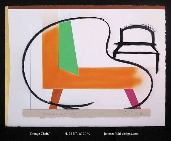 John Scofield, Orange Chair 2008, fabriano, 56 x 76, artistico 640g/m2, extra white