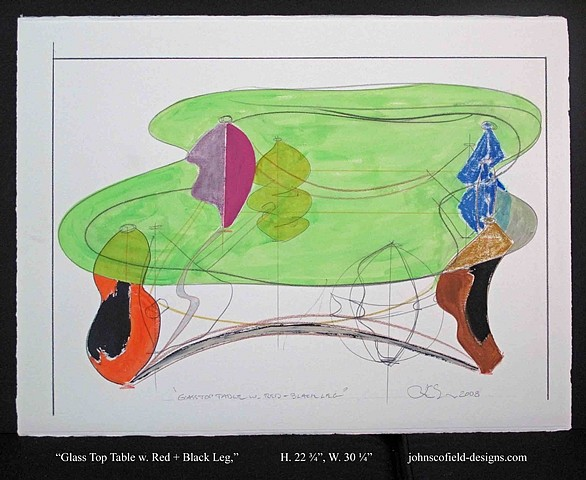 John Scofield, Glass Top Table w. Eggplant Leg and Charcoal Shadow 2008, fabriano, 56 x 76, artistico 640g/m2, extra white
