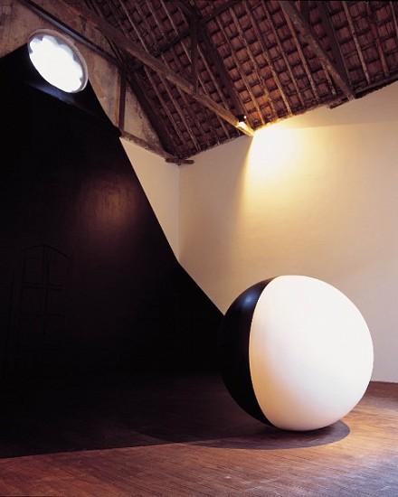 Regina Silveira, Equinox 2000, painted wooden sphere
