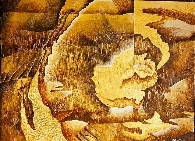 Sikarej Siripaibulya, Landscape of Life 2004, acrylic color, gold leaf