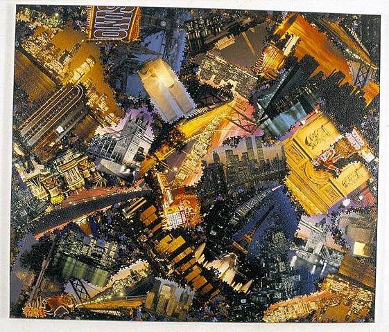 Al Souza, Night Vision 2004, puzzle parts, glue on wood