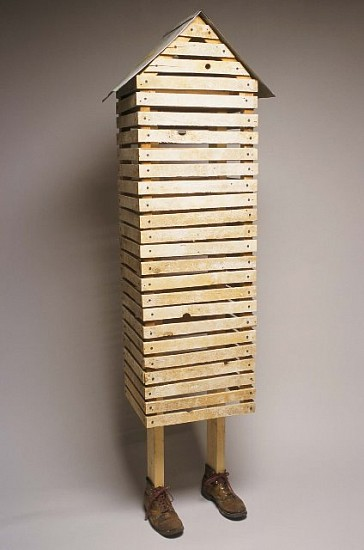 Ellen Sperling, The Only Home 2002, wood, galvanized steel, boots