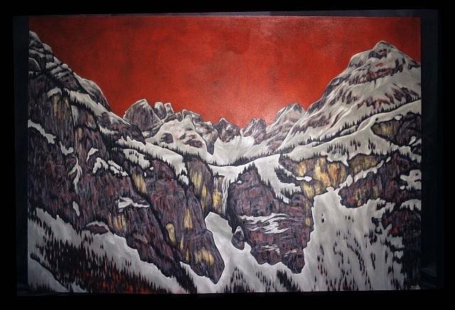 Karen Standke, Winterlicher Wasserfall 2008, oil on canvas