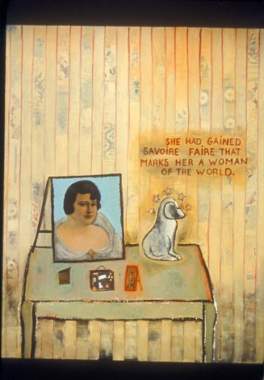 Inez Storer, Having Savoire Faire 2003, oil on canvas, collage
