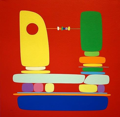 SoonAe Tark, In Red 2004, acrylic on canvas