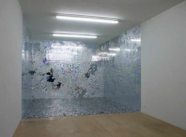 Goran Tomcic, A Shimmering Heart 2005, silver holographic paper, heart-shaped sequins