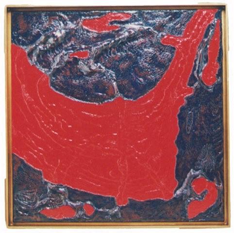 Marco Trovamala, Mar Sigiloso 1999, piromodelaje sobre tela