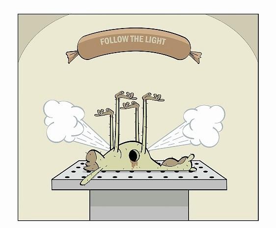 Fabian Ugalde, Follow the Light 2004, liquid vinyl, synthetic leather