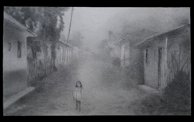 Mariana Varela, Char Little Girl 2002, pencil on paper