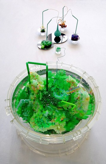 Annie Varnot, Varian Sea 2006, plastic drinking straws, sushi grass, Pearler Beads, color coated wire, silica disks, pompoms, Styrofoam balls, Q-tips, plastic containers, water