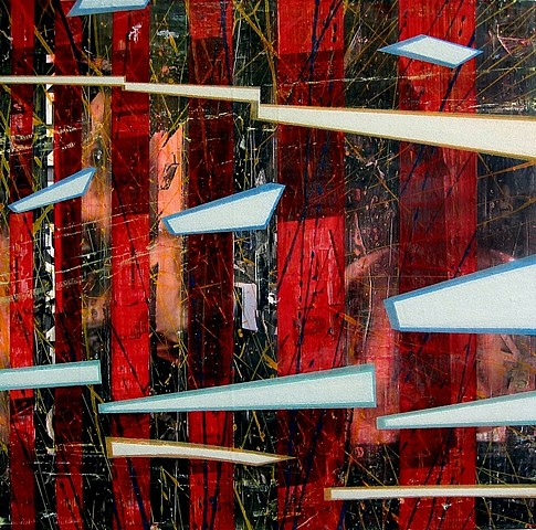 Mark Vinci, GPS Does Not Work Here 2005, acrylic, mixed media, glass beads on panel