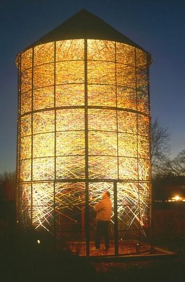 Randall Walker, Woven Corncrib 2004, steel corncrib structure, nylon, illumination