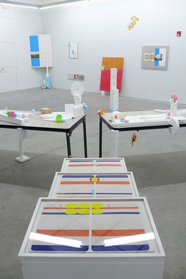 Bradley Wester, Untitled 2007, labels, stickers on paper, on styrofoam pedestal within solo exhibition installation