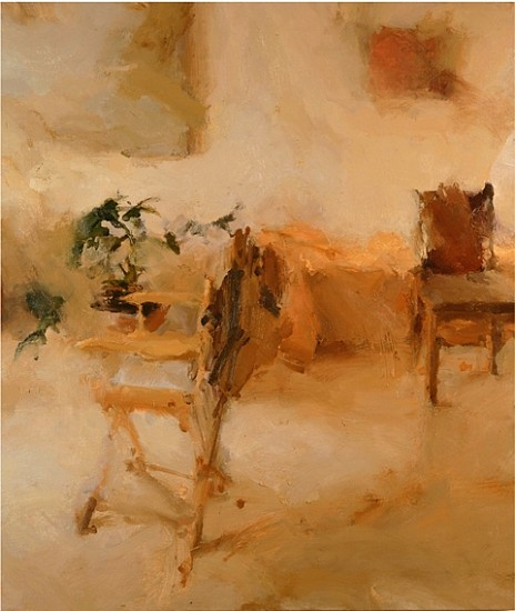 Jordan Wolfson, Interior with Director's Chair, II 2002, oil on linen