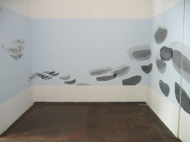 Katerina Wong, ...like clouds 2004, wax casts of fingerprints, sumi ink, powdered graphite on painted wall