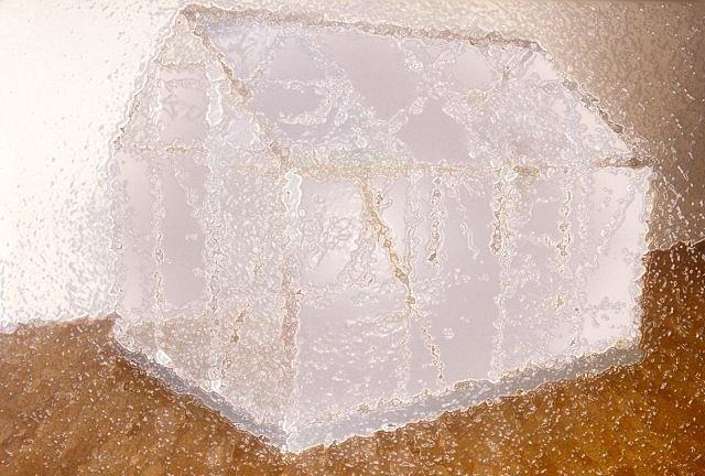 Nina Yankowitz, Shedding Ice House 2004, freezing elements, glass and metal frame