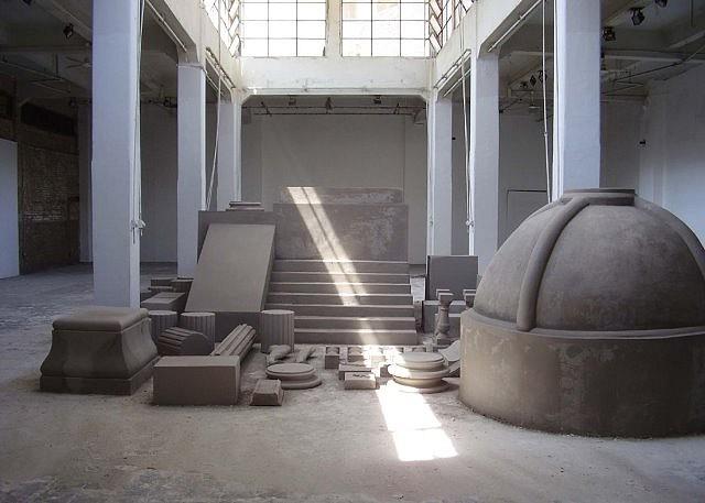 Tarek Zaki, M.O.N.U.M.E.N.T X 2007, cement, plaster, metal carcass and spray paint