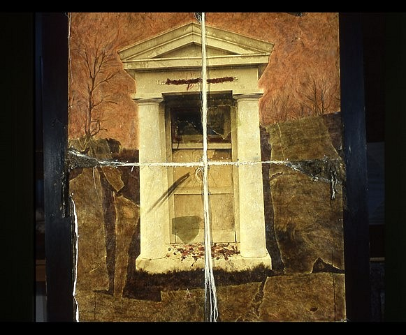 Leslie Addison, Mississippi River Tomb 2005, mixed media, oil stick, encaustic, photo